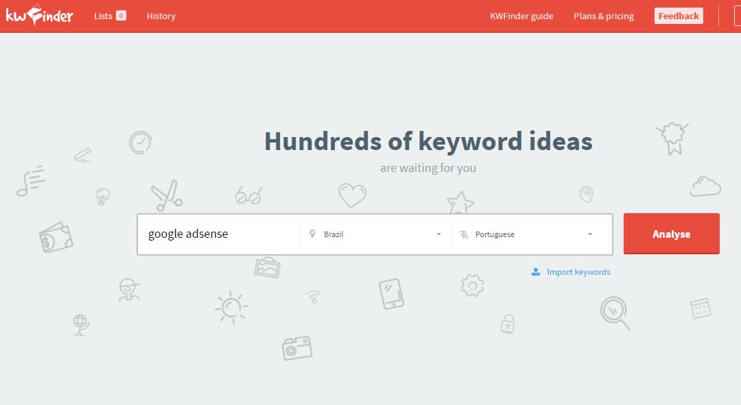 kwfinder.com ferramenta palavras chave keyword search